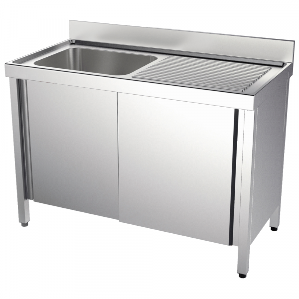 Eurast 2113D041 Sink with doors 1 drainer and 1 bowl 600x500x300 - 1400x700x850 mm