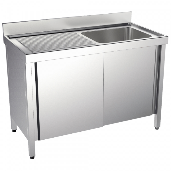 Eurast 2443II61 Sink with doors 1 drainer and 1 bowl 860x500x380 - 1600x700x850 mm