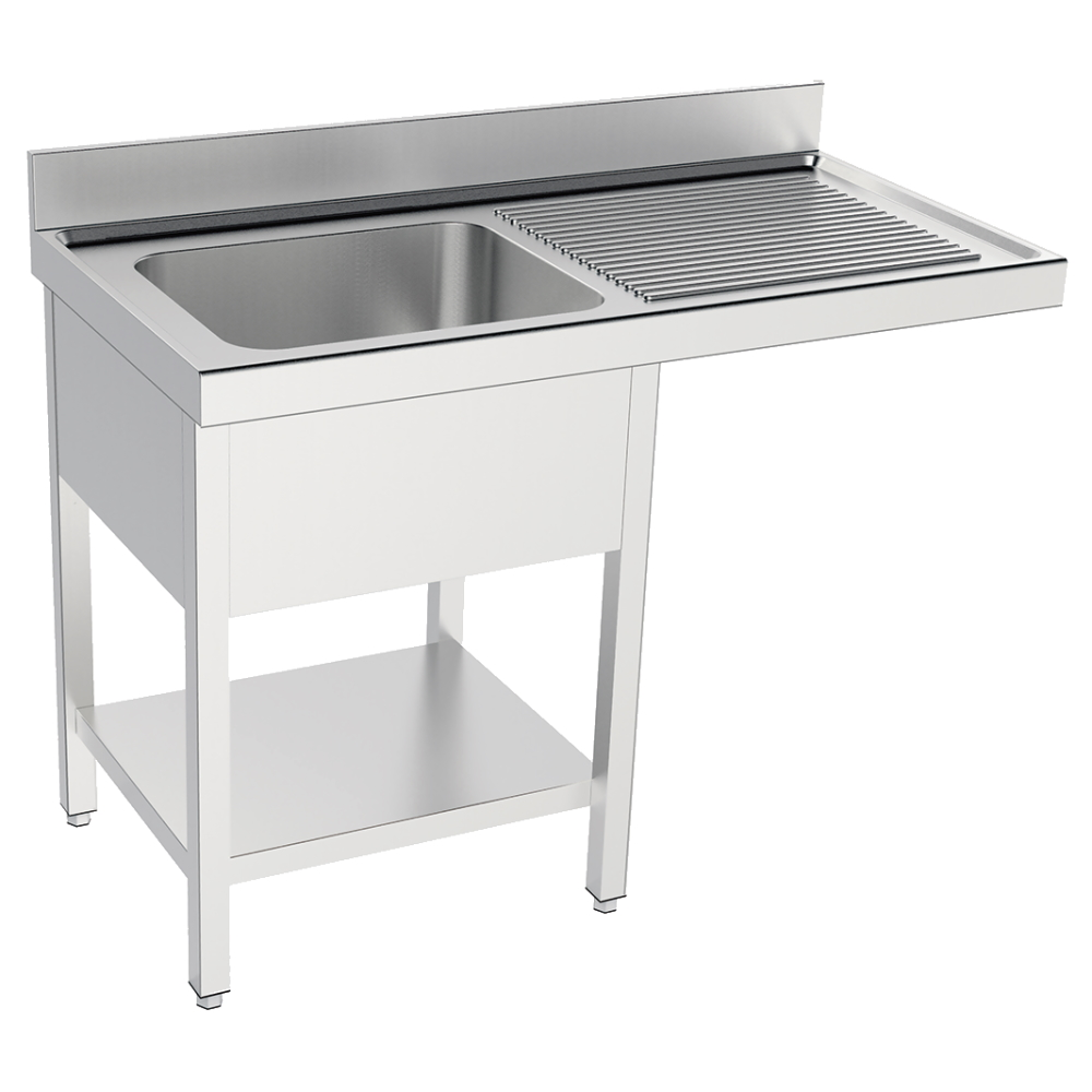 Eurast 2096D215 Sink with frame 1 shelf, 1 drainer and 1 bowl 400x400x200 - 1200x550x850 mm