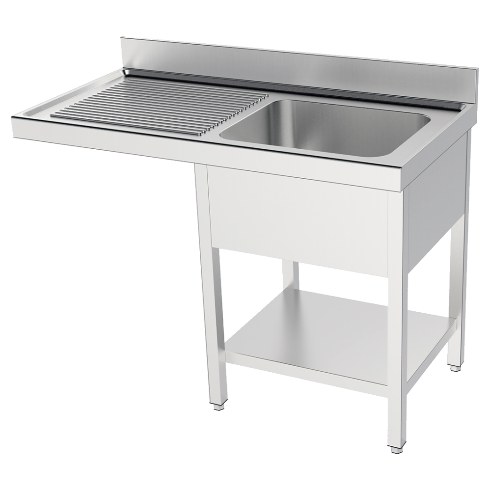 Eurast 2136I215 Sink with frame 1 shelf, 1 drainer and 1 bowl 400x400x200 - 1200x550x850 mm