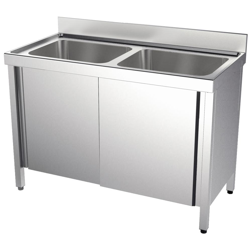 Eurast 20630216 Sink with doors 2 bowls 500x400x250 - 1200x600x850 mm