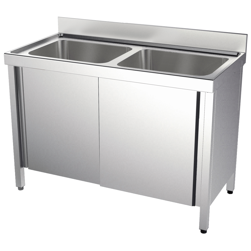 Eurast 20730417 Sink with doors 2 bowls 600x500x300 - 1400x700x850 mm