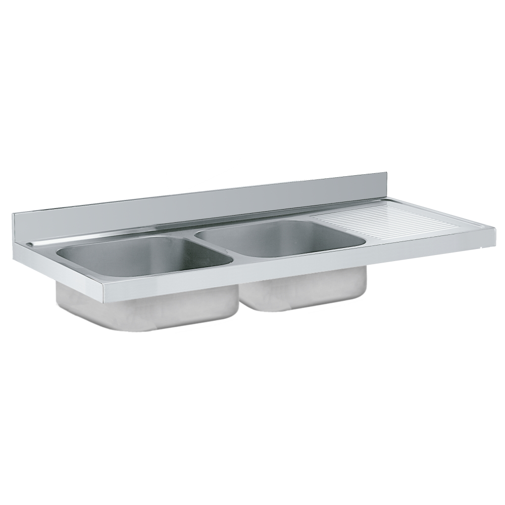 Eurast 2180D245 Unsupported sink 1 drainer and 2 bowls 500x400x250 - 1600x600x250 mm