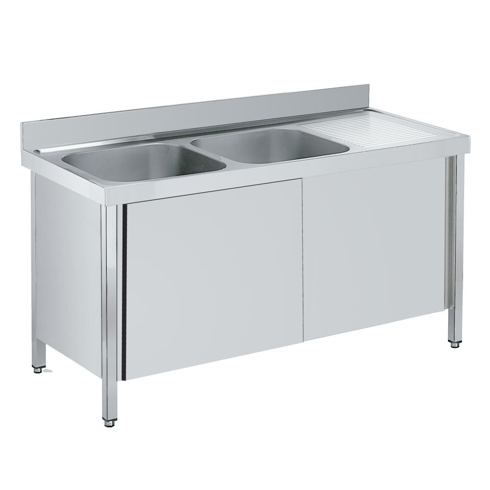 Eurast 2193D002 Sink with doors 1 shelf, 2 bowls 600x500x300 - 2000x700x850 mm