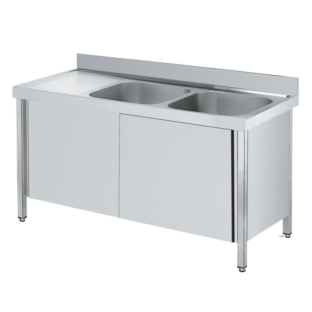Eurast 2213I061 Sink with doors 1 shelf, 2 bowls 500x400x250 - 1600x600x850 mm