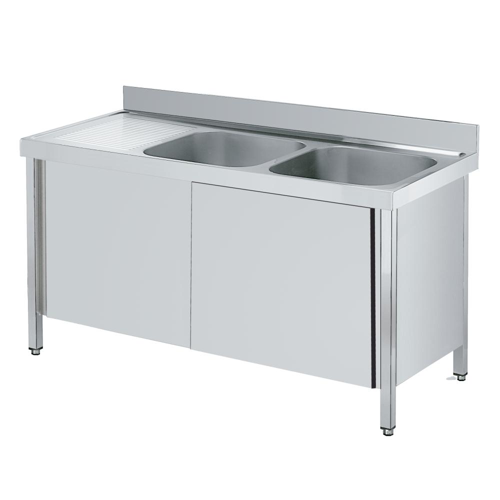 Eurast 2223I002 Sink with doors 1 shelf, 2 bowls 600x500x300 - 2000x700x850 mm