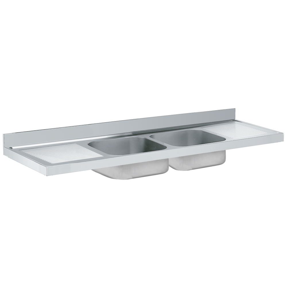 Eurast 22300G08 Unsupported sink 2 draineres 2 bowls 600x500x300 - 2400x700x300 mm