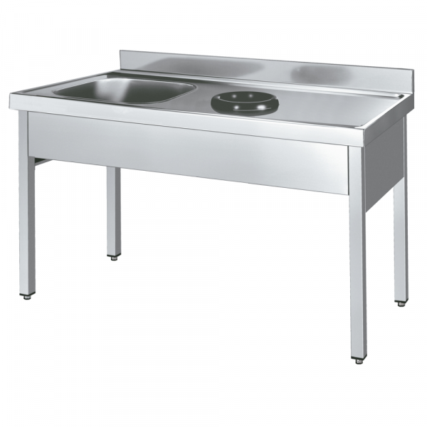 Eurast 254D816L Sink with frame 1 drainer, 1 bowl and discharge ring - 1800x600x850 mm