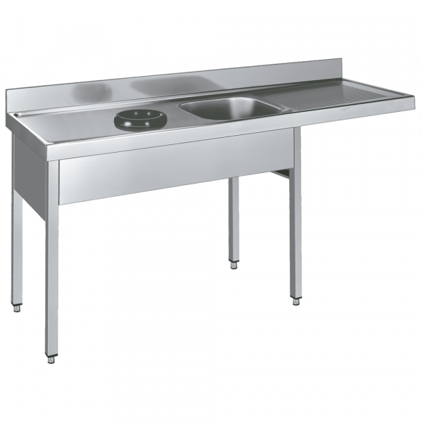 Eurast 255I816L Sink with frame 1 drainer, 1 bowl and discharge ring - 1800x600x850 mm