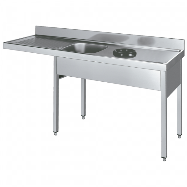 Eurast 228I817L Sink with frame 1 drainer, 1 bowl and discharge ring - 1800x700x850 mm