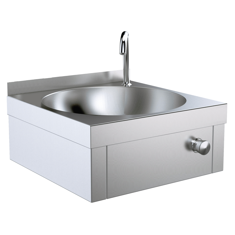 SINK WITH PUSH BUTTON