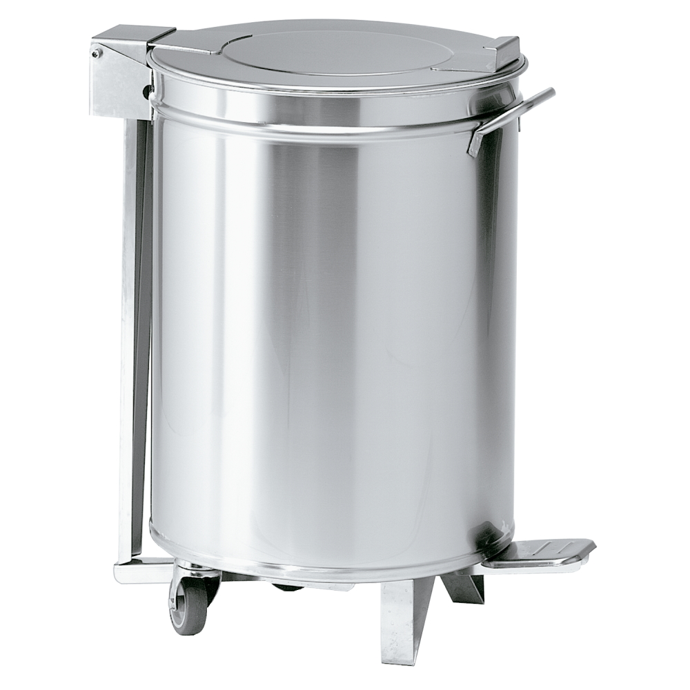Eurast 16205062 Stainless steel waste bin with lid and wheels - 380x380x605 mm