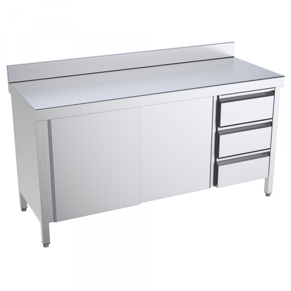 Eurast 1617DBPM Table with doors and drawers 2 doors 2 shelves 3 drawers right - 1600x700x850 mm