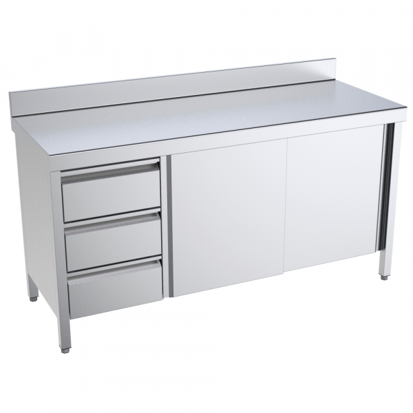 Eurast 1617IBPM Table with doors and drawers 2 doors 2 shelves 3 drawers left - 1600x700x850 mm