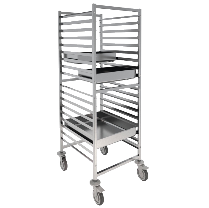 Eurast 91090620 18 guide trolley for gn 2/1 or 1/1 containers - 660x750x1700 mm