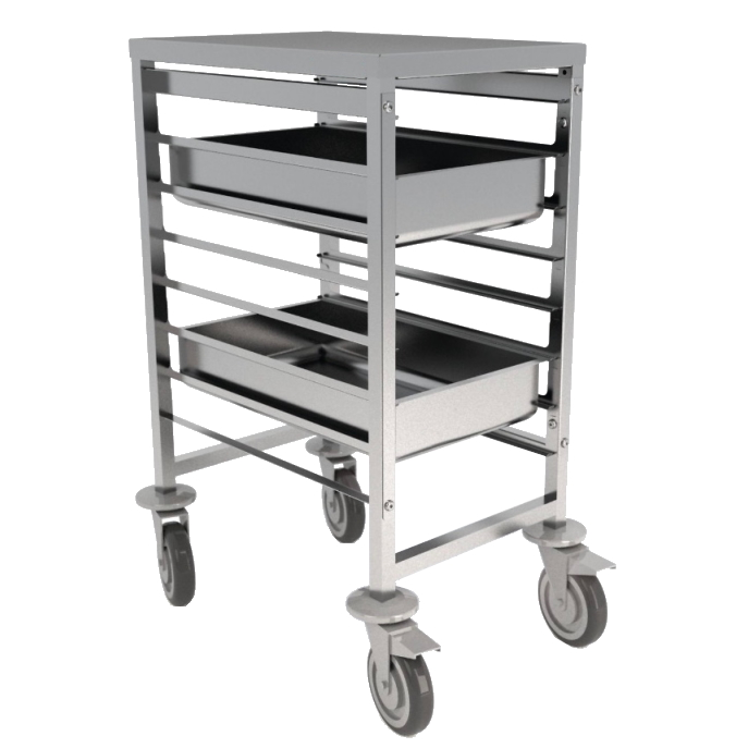 Eurast 91190620 7 guide trolley for gn 2/1 or 1/1 containers - 660x750x900 mm